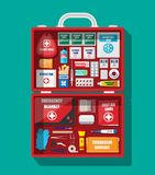 First aid kit with medical equipment. And medications. Cloth bag for medicine. Healthcare, hospital and medical diagnostics. Urgency and emergency services Stock Photo