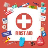 First aid kit with medical equipment. And medications. Healthcare, hospital and medical diagnostics. Urgency and emergency services. Vector illustration in flat Royalty Free Stock Photography