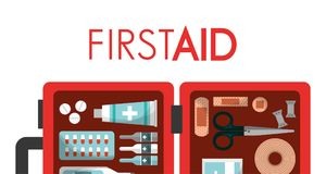 First aid kit medical health. First aid box equipment medical health vector illustration Stock Images