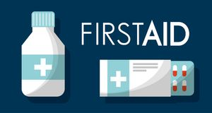 First aid kit medical health. First aid kit medical bottle medicine pills health vector illustration Royalty Free Stock Photo