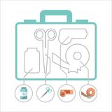 First aid kit medical health. First aid kit scissors band plaster and bottle silhouette vector illustration Royalty Free Stock Image