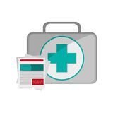 First aid kit and medical history icon Stock Photo