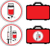 First aid kit and medical icons Stock Photo