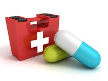First aid kit with medical pills on white background. 3d Stock Image