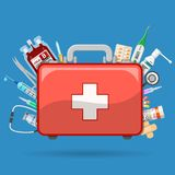 First Aid Kit with Medications. Medicine chest or first aid kit with medicines and medical tools. Flat style icons. Isolated vector illustration Stock Photo