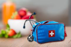 First Aid Kit. Medicine Charity and Relief Work Medical Exam First Place Winning Assistance Royalty Free Stock Photography