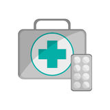 First aid kit and medicine tablets icon Royalty Free Stock Images