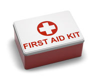 First Aid Kit Metal. Red and White Metal First Aid Kit Box. Isolated on White Background Royalty Free Stock Images