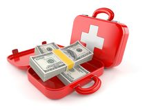First aid kit with money. On white background Royalty Free Stock Photo