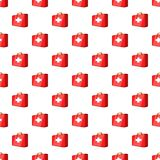 First aid kit pattern, cartoon style. First aid kit pattern. Cartoon illustration of first aid kit vector pattern for web Stock Photography