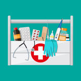 First aid kit with pills and medical devices. Mediacal first aid kit with different pills and medical devices, Pill and care healthy, healthcare. vector Stock Images