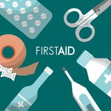First aid kit medical health. First aid kit pills scissors thermometer bottle medical health vector illustration Royalty Free Stock Image