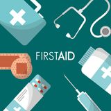 First aid kit medical health. First aid kit pills syringe bottle suitcase stethoscope medical health vector illustration Royalty Free Stock Images