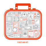 First aid kit. Red first aid kit with different objects inside. Medical equipment and medications for emergency. Vector medical icons set in modern liner style Stock Image