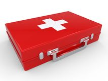 First Aid kit red medical box on white background. Health and Medical concept. 3d illustration and rendering image Royalty Free Stock Image