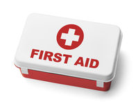 First Aid Kit Red. Red Plastic First Aid Kit Box Isolated on White Background Royalty Free Stock Photo