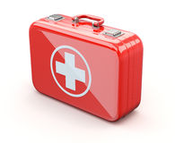 First aid kit. Red first aid kit with white cross - 3D illustration Royalty Free Stock Images