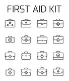 First aid kit related vector icon set. Well-crafted sign in thin line style with editable stroke. Vector symbols isolated on a white background. Simple Stock Photo