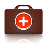 First Aid Kit Retro. First aid kit illustration, retro leather medical case with cross isolated over white background Stock Photography