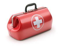 First aid kit in retro red doctor`s bag stock illustration