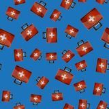 First Aid Kit Seamless Pattern. On Blue Background. Medical Texture Royalty Free Stock Image