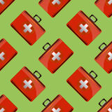 First Aid Kit Seamless Pattern. On Green Background. Medical Texture Stock Image