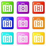 First aid kit set 9. First aid kit icons of 9 color set isolated vector illustration Royalty Free Stock Images