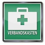First aid kit. Shield with first aid kit Royalty Free Stock Photography