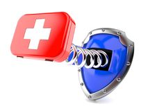 First aid kit with shield. Isolated on white background Royalty Free Stock Photography