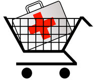 First aid kit in shopping cart. Shopping cart with first aid kit or medicine in cart Royalty Free Stock Photography