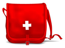 First Aid Kit Shoulder Bag. With White Cross. Medical Equipment. Red Doctors Bag Royalty Free Stock Image