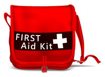 First Aid Kit Shoulder Bag. With White Cross. Medical Equipment. Red Doctors Bag Stock Photos