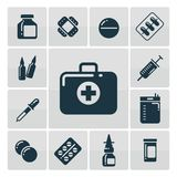 First aid kit silhouette icons set. Medicine accessorises icons. Vector illustration Royalty Free Stock Photo