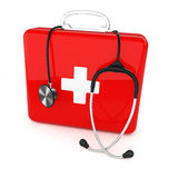 First aid kit and stethoscope. First aid kit and stethoscope on white background Royalty Free Stock Photography