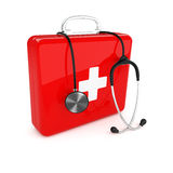 First aid kit and stethoscope Stock Photo