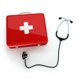 First aid kit and stethoscope. First aid kit and stethoscope on white background Stock Photo