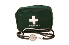 First aid kit and stethoscope Royalty Free Stock Image