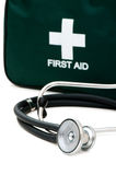 First aid kit and stethoscope Stock Image