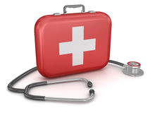 First Aid Kit with Stethoscope Royalty Free Stock Photos