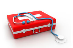 First aid kit and stethoscope. 3d illustration of First aid kit and stethoscope Stock Photo