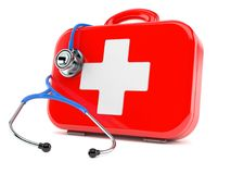 First aid kit with stethoscope. On white background Stock Image