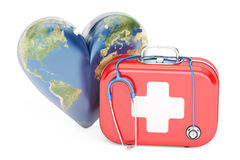 First aid kit with stethoscope and heart. World Heart Day concep. T. 3D rendering on white background Royalty Free Stock Images