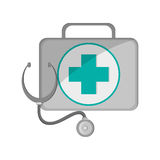 First aid kit and stethoscope  icon. Flat design first aid kit and  stethoscope icon vector illustration Stock Photo
