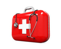 First Aid Kit and Stethoscope. Isolated on white background. 3D render Stock Images