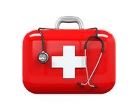 First Aid Kit and Stethoscope. Isolated on white background. 3D render Royalty Free Stock Photo