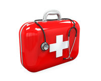 First Aid Kit and Stethoscope. Isolated on white background. 3D render Royalty Free Stock Images