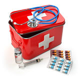 First aid kit with stethoscope, pills and syringe on the table. 3d Royalty Free Stock Photos