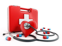 First aid kit, stethoscope and pills. On white background Stock Images