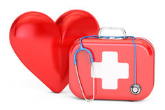 First aid kit with stethoscope and red heart. First Aid concept. 3D rendering on white background Royalty Free Stock Photos