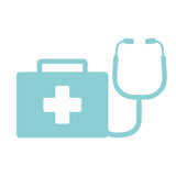 First aid kit stethoscope suitcase emergency clinic Stock Photography